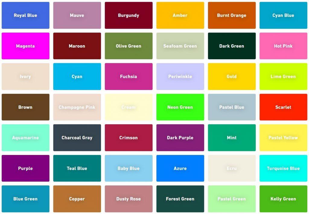 100s of colour combination